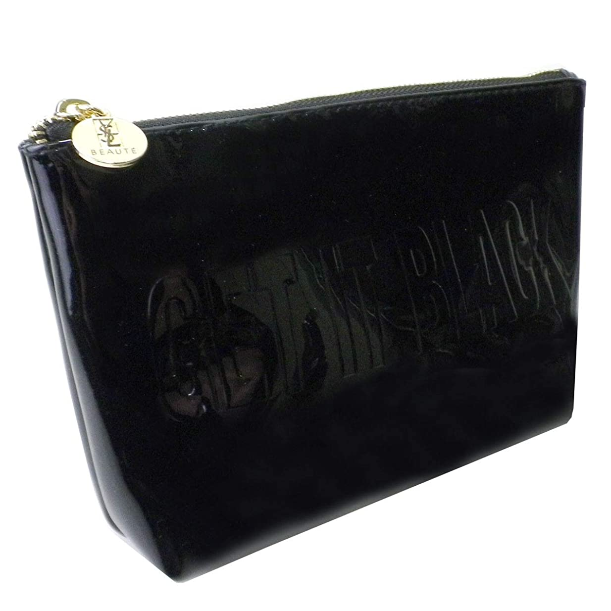 マットレスふざけた性差別Yves Saint Laurent(イヴ?サンローラン) ポーチ 小物入れ ロゴ 黒 ブラック GET IT BLACK エナメル 化粧 メイク コスメ