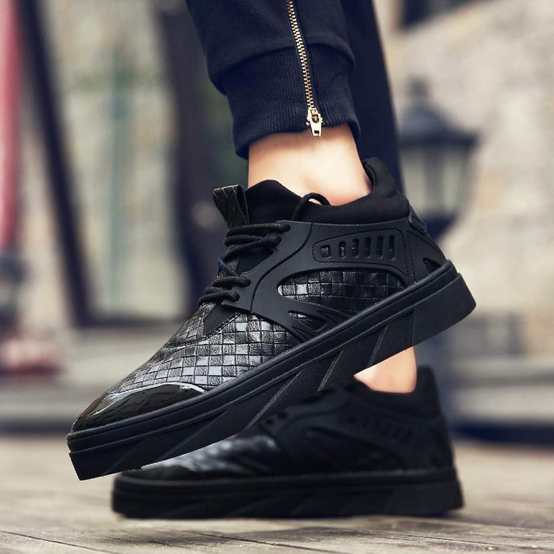 Easy Go Shopping Men's shoes Men's Korean Casual Cotton shoes Men's shoes Warm White shoes Cricket shoes (color   Black, Size   4)