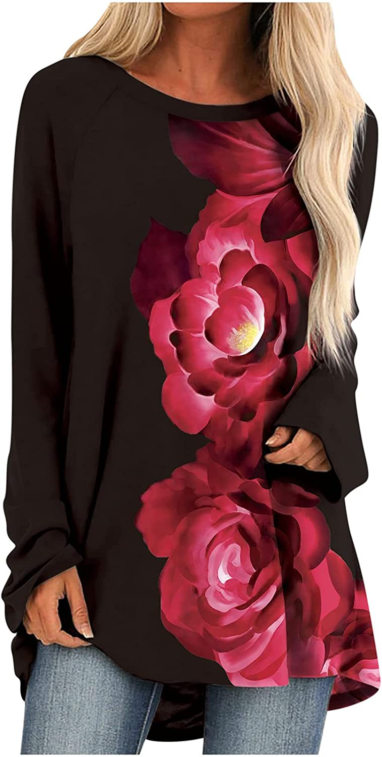 Womens Tops Flower Print Sweatshirt Attention brand Fit Oversized shopping Sweaters Loose