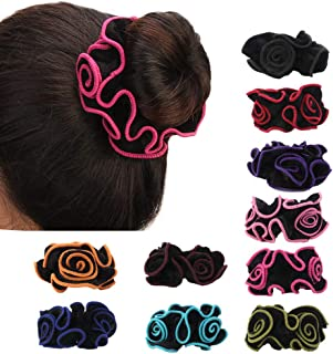Holy KT 10 Colors Set Hair Scrunchies Floral Style Cotton Pleuche Headbands Elastic Bands Hair Ropes Ties