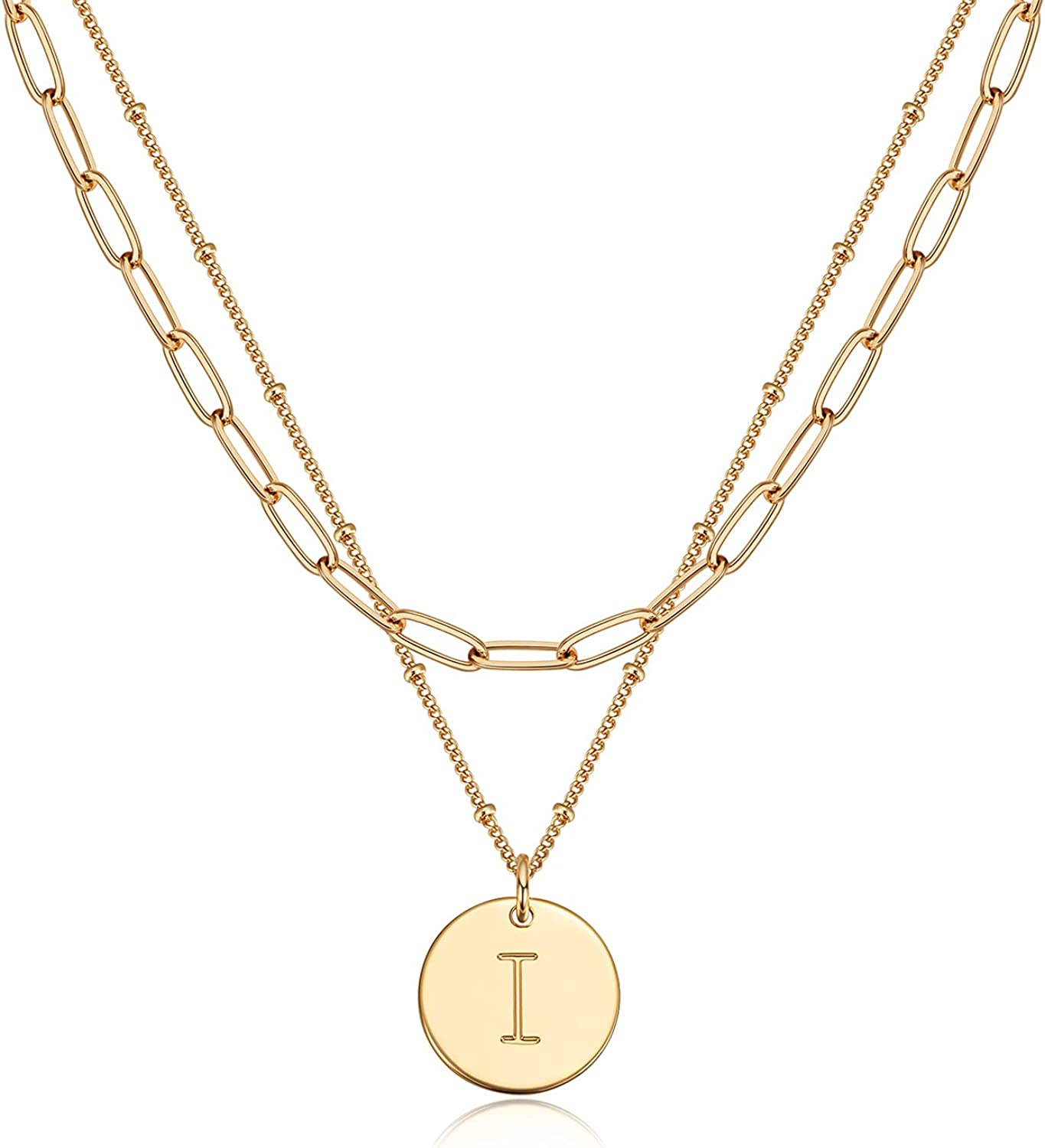 Valloey Rover Gold Layered Disc Necklace 14K Gold Plated Dainty Initial Coin Pendant Necklace Personalized Side Engraved Letter Alphabet Charm Layering Necklace for Women