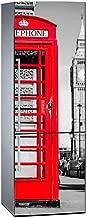 Oedim Pegatinas Vinilo para Frigorífico Cabina Telefono Roja | 185x60cm | Adhesivo Resistente y de Fácil Aplicación | Pegatina Adhesiva Decorativa de Diseño Elegante