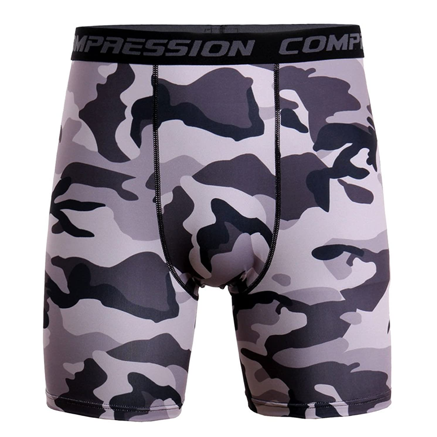 JJLIKER Men's Camouflage Compression Shorts Base Layer Athletic Underwear for Cycling Gym Workout Running Shorts