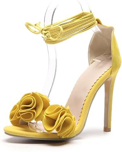 Exing zapatos de mujer Sandalias de Tacón Alto Damas Finas con Flores zapatos de Gamuza zapatos de La Correa