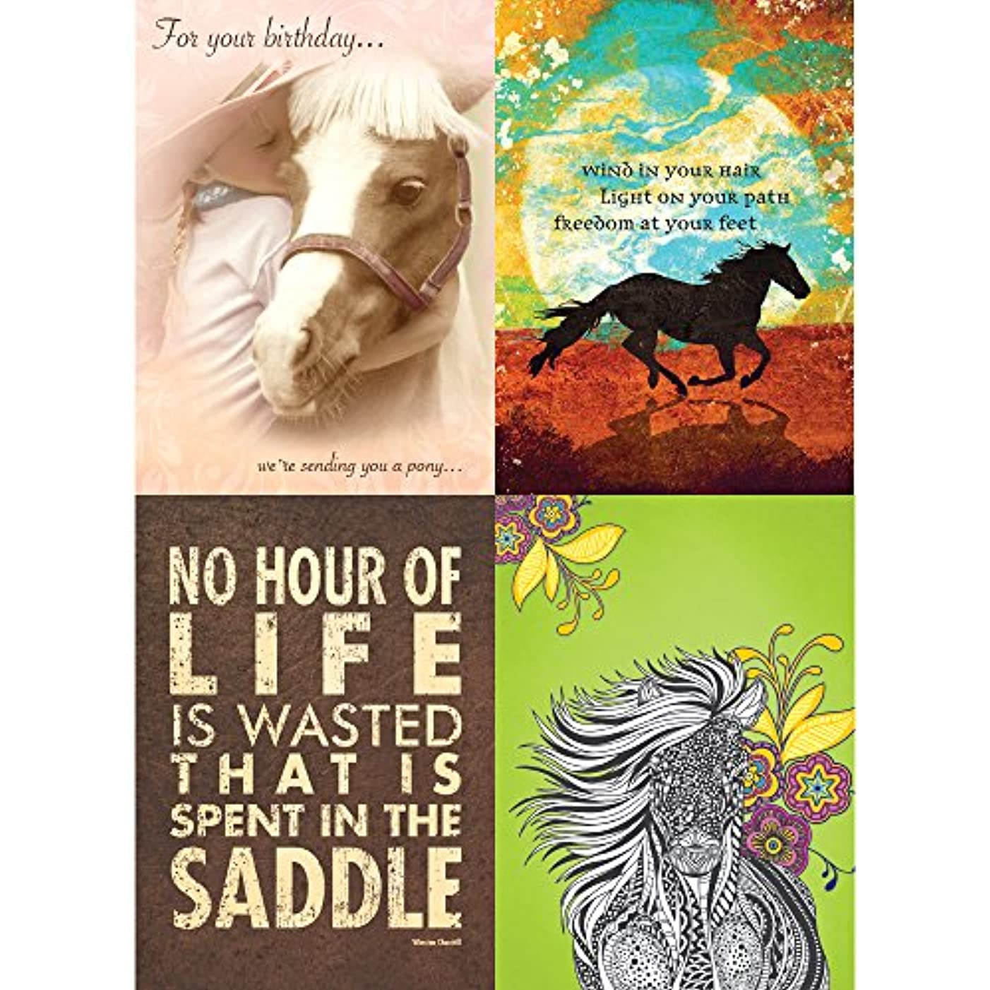 Tree-Free Greetings Horse Love Birthday Card Assortment, 5 x 7 Inches, 8 Cards and Envelopes per Set (GA31594)