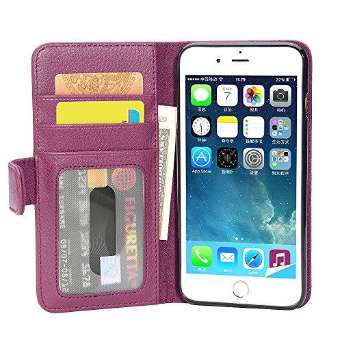 Cadorabo Funda Libro para Apple iPhone 8 Plus/iPhone 7 Plus/iPhone 7S Plus en Burdeos Violeta – Cubierta Proteccíon con Cierre Magnético e 3 Tarjeteros – Etui Case Cover Carcasa