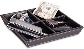 Profile Gifts Jeffrey 4 Compartment Valet Tray and Leatherette Organizer Box for Wallets, Coins, Keys, and Jewelry