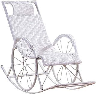 Sillón reclinable para exterior Tumbona blanca de mimbre Reclinable Cero gravedad Tumbona Sillón reclinable Sillas de relajación Sillas mecedoras Sillón reclinable de jardín Tumbona para hamacas para