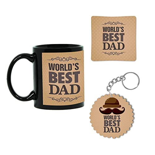 Giftsmate Worlds Best Dad Ceramic Coffee Mug With Coaster And KeychainBlack