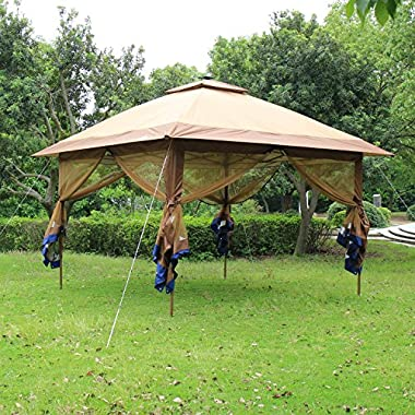 SunTime ST-1 Fully Enclosed Canopy Instant Popup Gazebo with Solar Powered LED Lights and