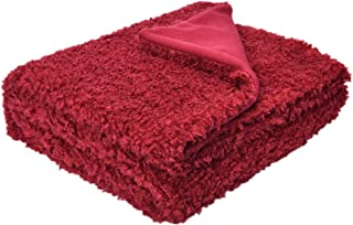 BestBang Super Soft Faux Fur Throw Decorative Blanket - 51.18 x 59.06 Inches, Red