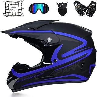 MRDEAR Motorradhelm, Motorrad Crosshelm, Motocross Helm mit Brille 5 Stück - Schwarz und Blau - Off Road Helm Fullface MTB Schutzhelm für Herren Damen Sicherheit Schutz