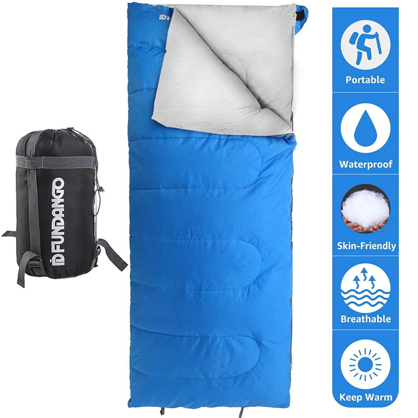 FUNDANGO Lightweight Sleeping Bag Compact Waterproof Rectangular/Envelope Cozy Portable Summer Backpacking Camping Hiking Sleeping Bags for Adults/Kids Extreme 4℃/39.2℉with Compression Bag