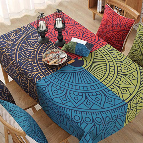 Creek Ywh tafelkleden voor terrasmeubels, tafelkleden, feesttafelkleden, katoenen doek, linnen, Indiase wind, Japanse stof, rechthoekig