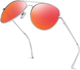 Hatstar - Gafas de sol de piloto con espejo UNISEX para hombre y mujer con bisagra de resorte UV400 CAT 3 CE 78. Marco plateado y cristal naranja con efecto espejo. Talla única