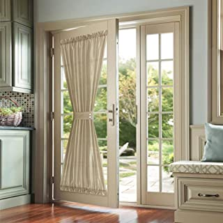 jinchan French Door Panels Privacy French Door Curtain Panels Faux Silk Dupioni French Door Curtains 1 Panel with Bonus Tieback 72 inch Length Gold Taupe