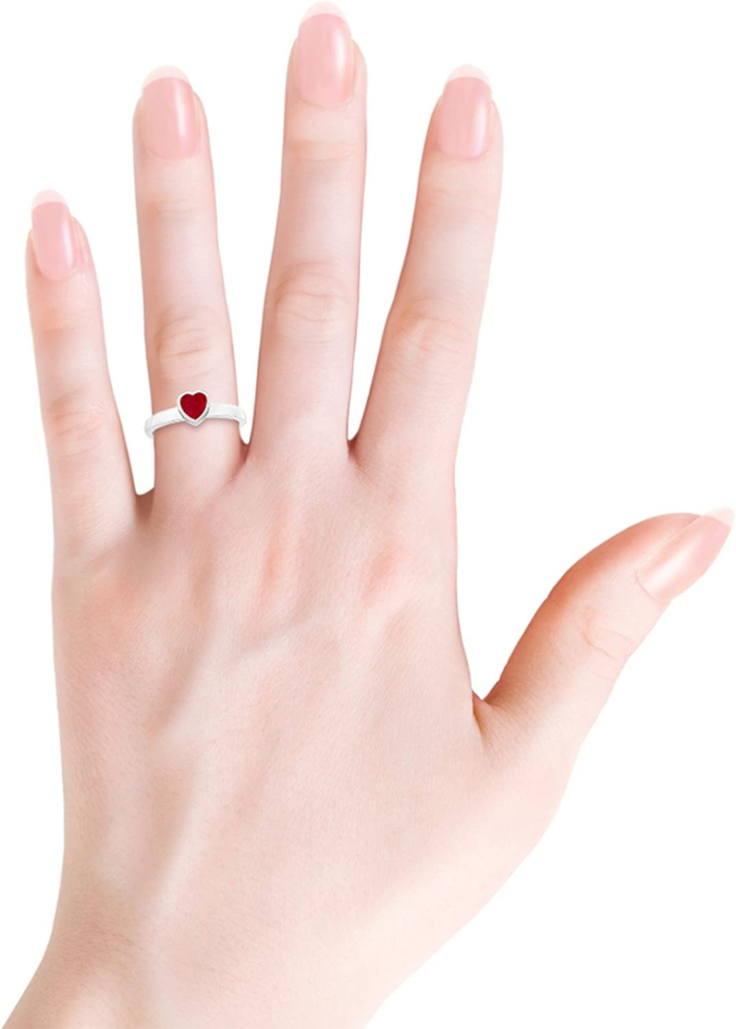Bezel-Set Solitaire Heart Ruby Promise Ring (4mm Ruby)
