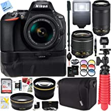 Nikon D5600 24.2 MP DX-Format DSLR Camera with AF-P 18-55mm VR & 70-300mm Lens Kit + 32GB Battery Grip Accessory Bundle