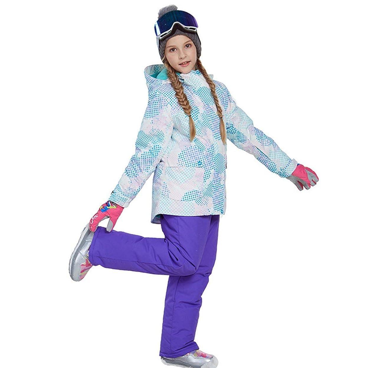 食品嫌なピックラブリーボーイズガールズウィンタースノーボードパーカージャケットスノービブスノースーツセット暖かいスノースーツフード付きスキージャケット+パンツ2個セット-パープル158/164