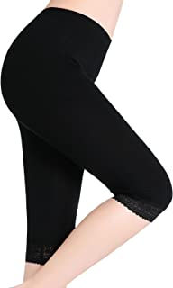 Women Under Skirt Shorts Lace Capri Leggings Ultra Soft Cropped Pants