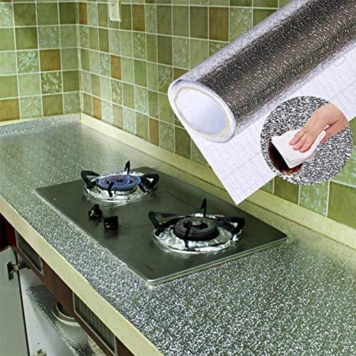 HWJHYW Küche Ölbeständige Aluminiumfolie Stickerhome Möbel Schmücken Folien-Tapete