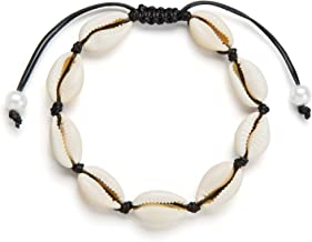 Fesciory Puka Shell Anklet for Women Hawaiian Natural Cowrie Summer Adjustable Ankle Bracelet, Handmade Boho Beach Seashell Jewelry for Girls