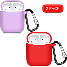 Wireless Charging airpods Case, Airpods Accessories Kits, [Front LED Visible] 2 Pack Protective Silicone Cover Skin for Apple Wireless Charging airpods Light Purple + red
