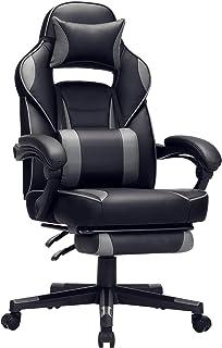 SONGMICS Gaming chair, bureaustoel met voetsteun, bureaustoel met hoofdsteun en lendenkussen, in hoogte verstelbaar, ergon...