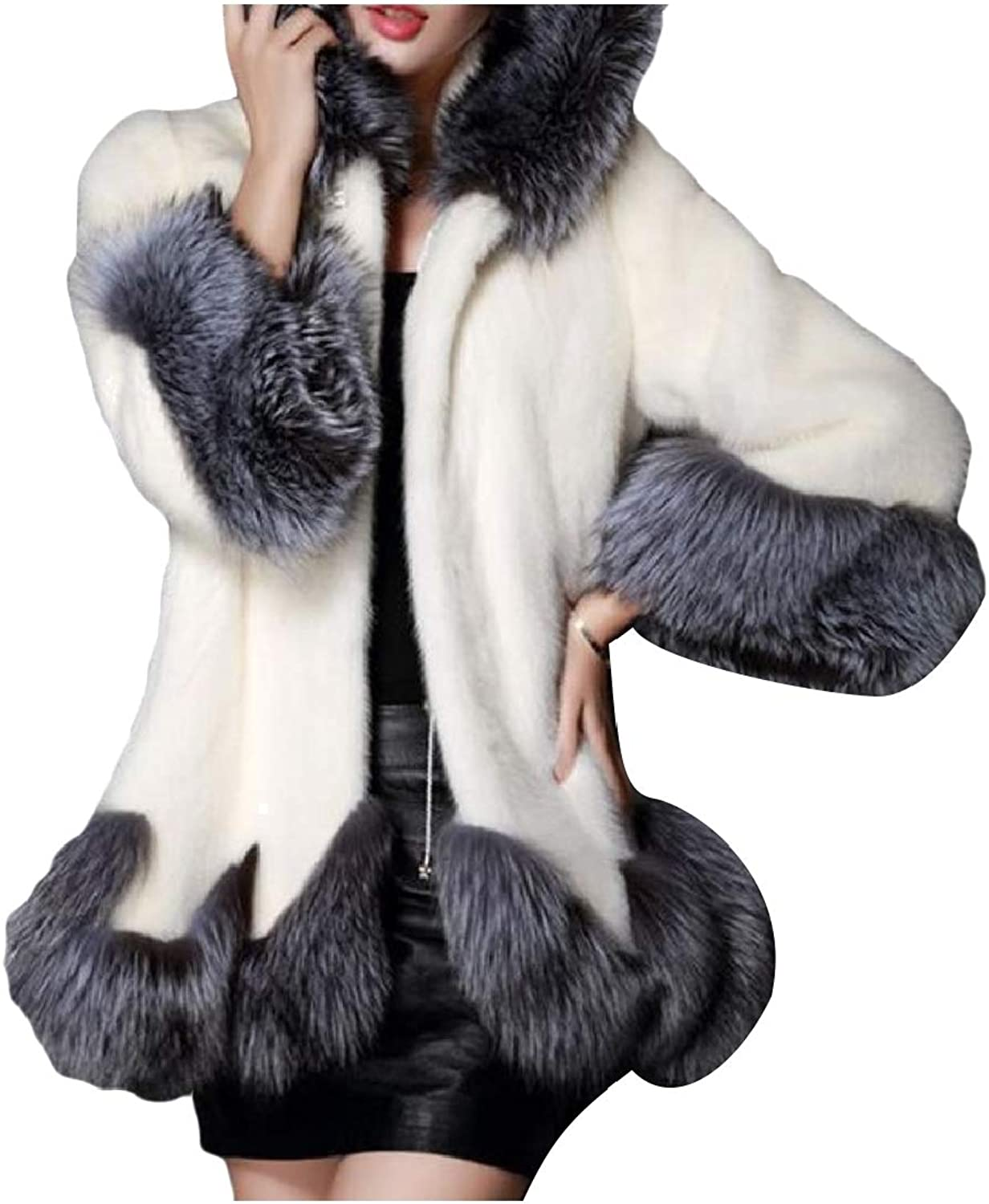 Vska Women Hooded Wedding MidLong Faux Fur PlusSize Outwear Coat