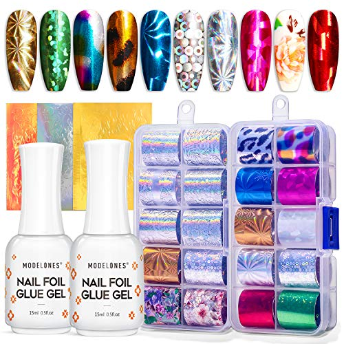 Modelones Foil Glue Nail Art with Starry Sky Star Foil Stickers Set Nail Transfer Tips Manicure Art DIY, 23 PCS Nail Stickers, Holographic,UV LED Lamp Required