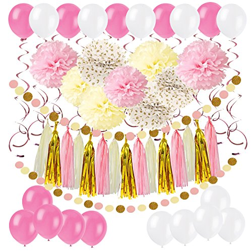 Zerodeco DIY Paper Pom Poms with Tissue Paper Tassel, Polka Dot Garland, Hanging Swirl Decorations and Balloon Kit for Birthday Wedding Showers Party Decorations - Pink