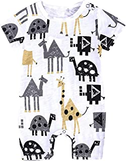 NUWFOR Toddler Kids Baby Boys Cartoon Print Romper Jumpsuit Outfit Clothes Summer ?Gray,3-6 Months?