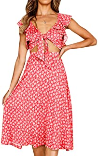 SERYU Dress for Womens Holiday Bowknot Lace Up Beach Buttons Party Dress