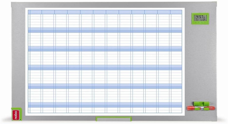 Nobo Performance Plus Jahresplaner Uhr- und Datumsanzeige Planungsraster magnethaftend trocken abwischbar 100 x 600 mm B000NMFW1C | Fierce Kaufen