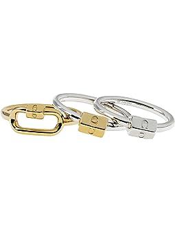 코치 반지 COACH Carabiner Ring Set,Two-Tone