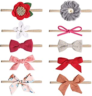 MEIQUAN Baby Girl Headbands and Bows, Hair Accessories (10-Pack Different Styles) (Style-1)
