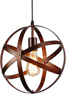 Lámpara colgante esférica industrial,Lámpara de techo metal Retro Vintage rústico,E27 Lámparas de araña