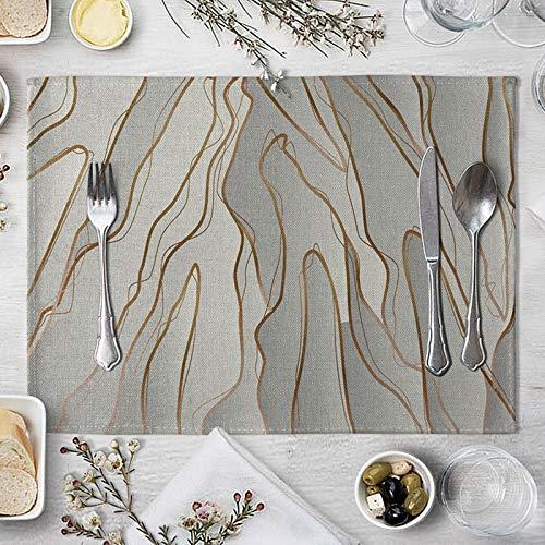 AmDxD Juego de 2 manteles individuales de lino de algodón de 30,4 x 40,6 cm, diseño artístico, decoración del hogar, resistente al calor, color gris