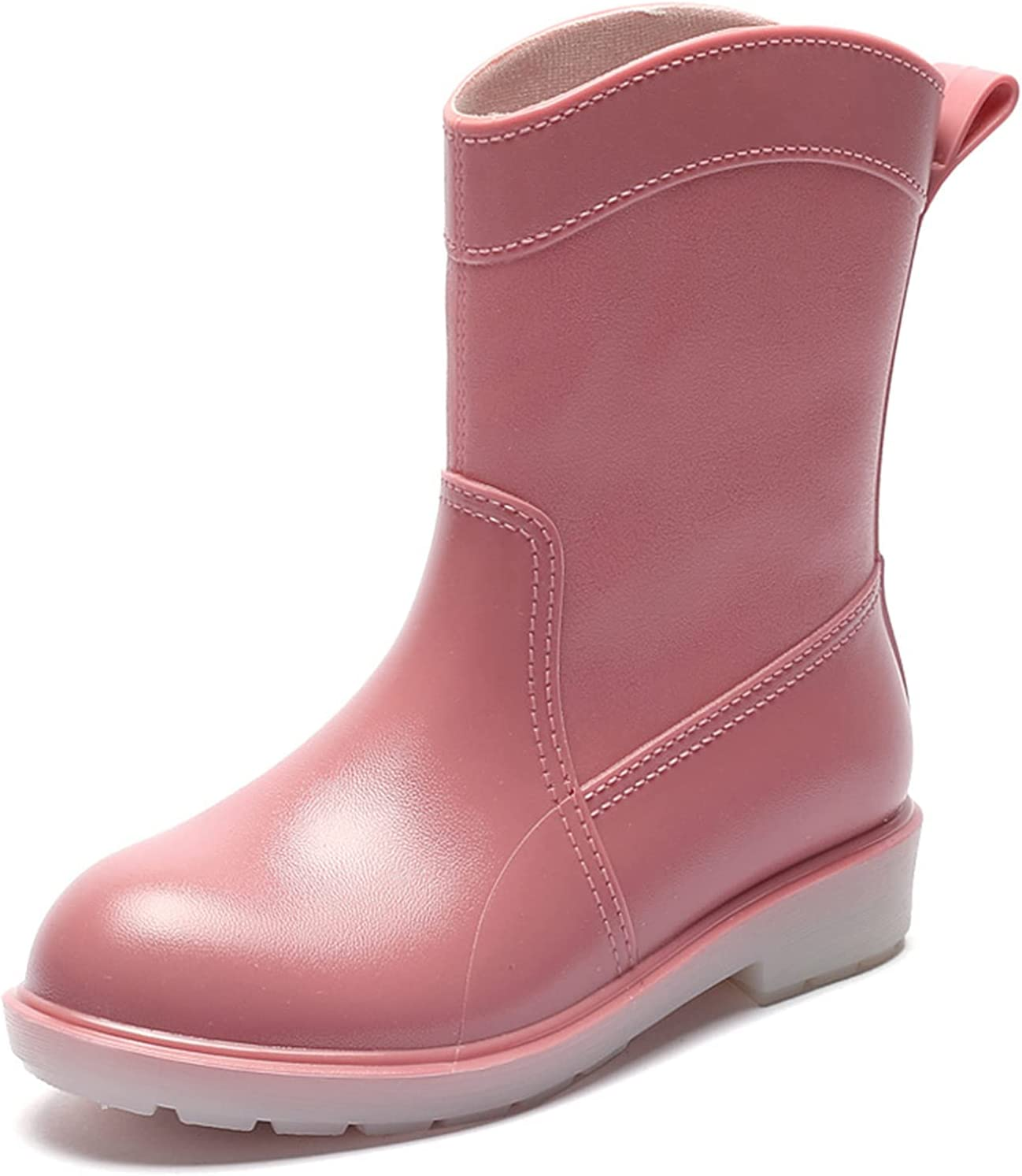 ZBRO Mid Calf Rain Boots Fashionable Comfortable Shoes Waterproof Non-Slip Boots for Women for Outdoor Camping Hiking