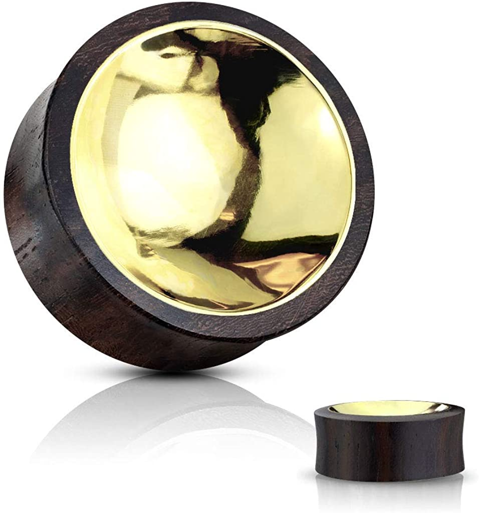 In a popularity Jacksonville Mall Blue Palm Jewelry Pair of Organic Wood Saddle Plug with Concaved