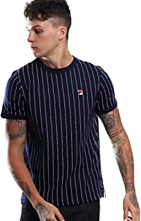 Fila Black Line Man T-Shirt Blue With White Stripes Baseball Style With Logo 684366PEAC