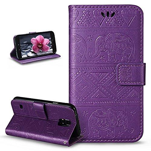 ikasus Compatible avec Coque Galaxy S5/S5 Neo Etui,Embosser Gaufrage Éléphant tribal Housse Cuir PU Housse Etui Coque Portefeuille supporter Flip Case Etui Housse Coque pour Galaxy S5/S5 Neo,Violet