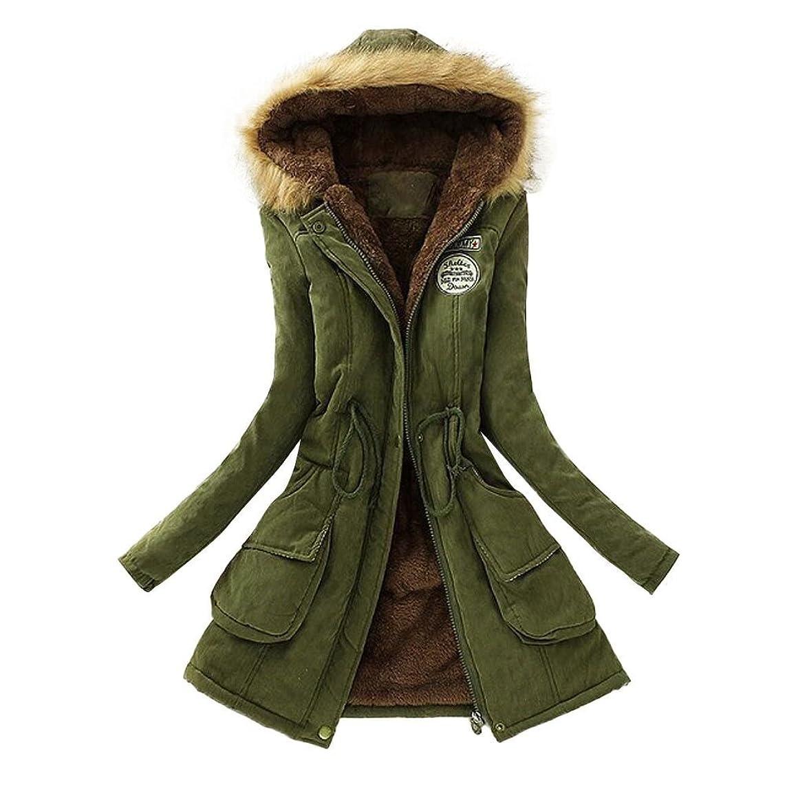 Warm Long Coat Fur Collar Hooded Jacket Winter Parka Outwear Women