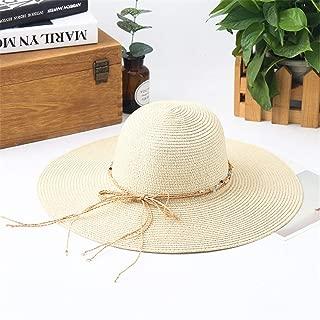 Hat Straw hat Women Girls Straw Hat Large Brim Sun Hat Women Summer Beach Cap Big Foldable Hats Sun hat Panama hat (Color : Milk White, Size : 56-58cm) (Color : Beige, Size : 56-58cm)