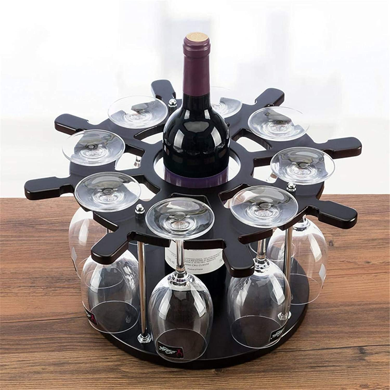 Red Wine Shelf Continental Creative Woody Storage 1 Bottles Wine Hanging Cup Stand 38  38  20cm Living Room Study