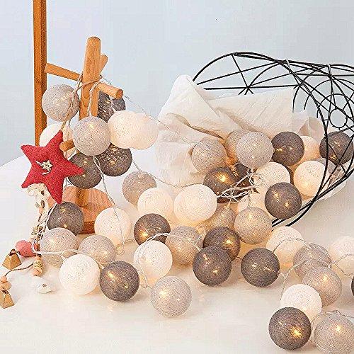 ELINKUME® LED Lichterkette mit 20 Baumwollkugeln, Leuchtfarbe-warmweiß, Batteriebetrieben, 3.3M Lampion Partylichterkette Deko für Innen Balkon Party Hochzeit Feiertag, Kalte Töne