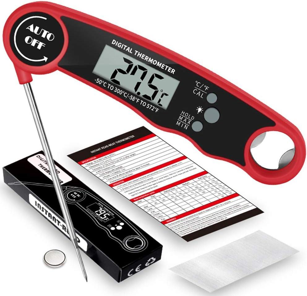 Faltbares Fleischthermometer, sofortiges Ablesen, Kochthermometer für Küche, Kochen, Grillen Schwarz Rot