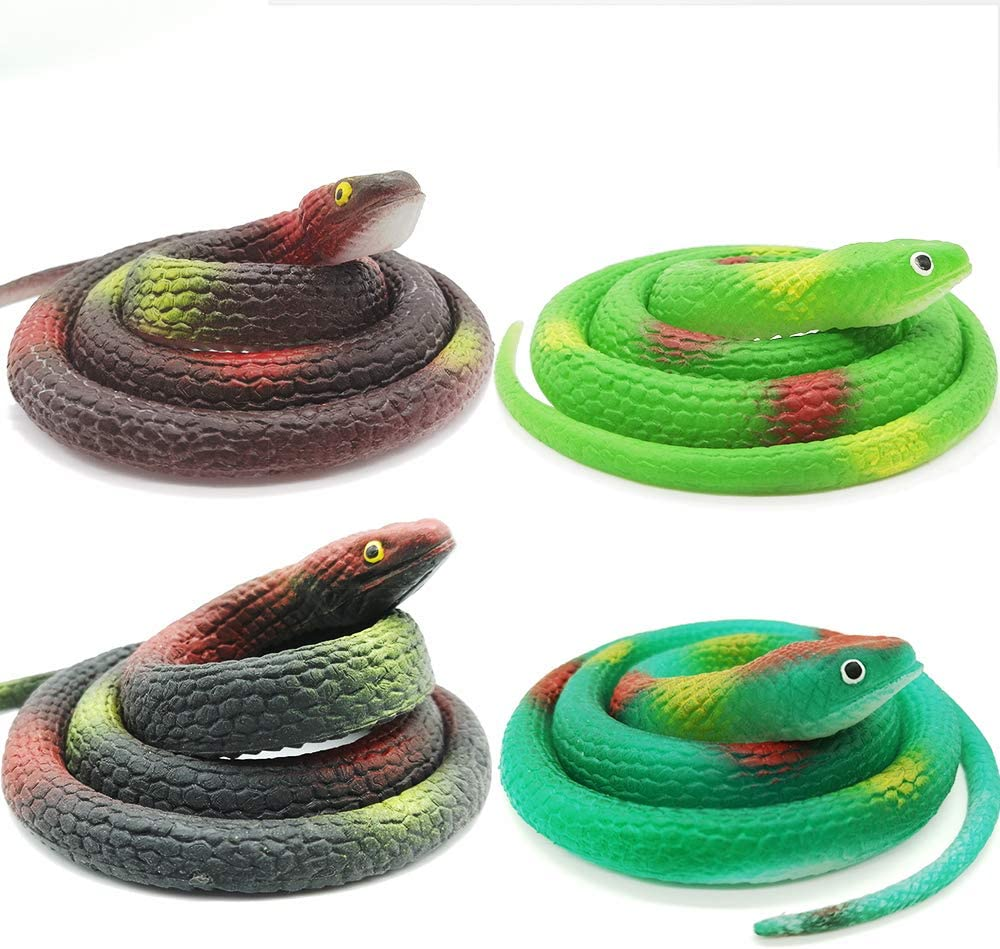 Lechay Rubber Snakes to Keep Birds Away,4 Pieces 29 Inch Realistic Rubber Snakes , Pranks, Halloween Decoration , Fake Snake for Garden Props to Scare Birds, Squirrels, Mice