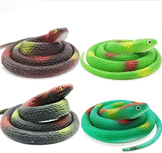 Lechay 4 Pieces 29 Inch Realistic Rubber Snakes, Pranks, Halloween Decoration ,The Funniest Gift for Children