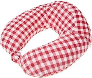 Ahomi Plaid U Shaped Slow Rebound Memory Foam Neck Pillow Car Travel Cushion (Red